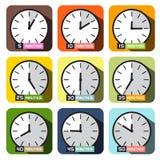 Vecteur d'icônes d'horloge Ensemble différent de horodateurs illustration de vecteur