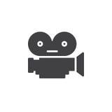 Vecteur d'icône d'appareil-photo de pellicule cinématographique, signe plat rempli, pictogramme solide d'isolement sur le blanc illustration libre de droits