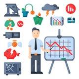 Vecteur d'icône d'investissement de conception de finances d'activité bancaire d'économie de problème de concept de symboles de c illustration stock