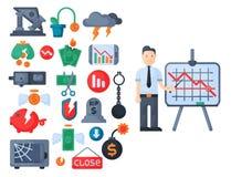 Vecteur d'icône d'investissement de conception de finances d'activité bancaire d'économie de problème de concept de symboles de c illustration libre de droits