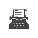 Vecteur d'icône de machine à écrire, signe plat rempli, pictogramme solide d'isolement sur le blanc Symbole de rédaction publicit Photos stock