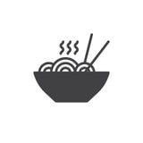 Vecteur d'icône de nouilles, signe plat rempli illustration de vecteur
