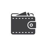 Vecteur d'icône de portefeuille, signe plat rempli, pictogramme solide d'isolement sur le blanc illustration de vecteur