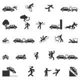 Vecteur d'icônes d'accidents illustration stock