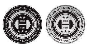 Vecteur d'icônes de gymnase de forme physique de bodybuilding sur un blanc Photo stock