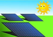 Vecteur d'illustration des panneaux solaires et du soleil Images stock