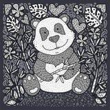 Vecteur d'illustration d'ours panda avec le bambou Carte tirée par la main de bande dessinée illustration stock