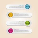Vecteur d'Infographic de chronologie dans les hexagones Photographie stock
