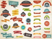 Vecteur d'insigne d'autocollant d'étiquette de bannière de label de vintage Photographie stock
