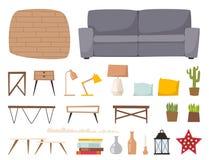 Vecteur d'intérieur d'éléments d'architecture contemporaine plate de concept de décor de maison d'appartement de conception intér Photographie stock libre de droits