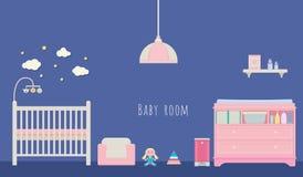 Vecteur d'intérieur de pièce de bébé Photo stock