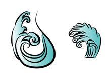 Vecteur d'isolat de conception de tatouage de vague Image stock