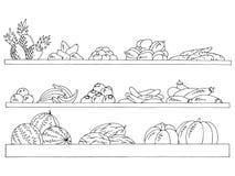 Vecteur d'isolement blanc noir graphique d'illustration d'épicerie de fruits et légumes de croquis d'ensemble d'étagères illustration libre de droits