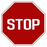 Vecteur d'isolement par panneau routier réaliste rouge d'arrêt de label illustration de vecteur