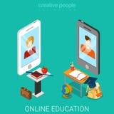 Vecteur 3d isométrique plat d'éducation de téléphone en ligne de la connaissance Image libre de droits