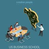 Vecteur 3d isométrique plat de cours de formation d'école de commerce des USA Photo libre de droits