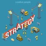 Vecteur 3d isométrique plat de mot de bâtiment de construction de création de stratégie Image libre de droits