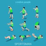Vecteur 3d isométrique plat de sport de sportifs d'athlète masculin d'exercice Photographie stock libre de droits