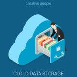 Vecteur 3d isométrique plat de stockage de données de nuage Image libre de droits