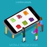 Vecteur 3d isométrique plat du bon marché frais mobile d'agriculture Photos libres de droits