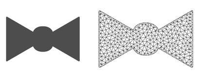 Vecteur 2D Mesh Bow Tie et icône plate illustration stock