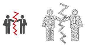 Vecteur 2D Mesh Businessmen Divorce et icône plate illustration de vecteur