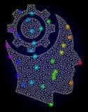 Vecteur 2D Mesh Human Intellect Gear avec les taches rougeoyantes colorées par spectre illustration de vecteur