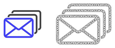 Vecteur 2D Mesh Mail Queue et icône plate illustration stock
