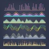 Vecteur d'ondes sonores de musique Abrégé sur impulsion Illustration d'égaliseur de voie de fréquence de Digital illustration stock