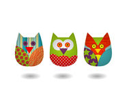 Vecteur d'Owl Three Sewing Style Image libre de droits