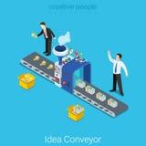 Vecteur 3d plat de jeune entreprise de convoyeur d'idée isométrique Photo stock