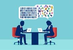 Vecteur d'un homme d'affaires et d'une femme d'affaires ayant une approche différente à la résolution des problèmes illustration stock
