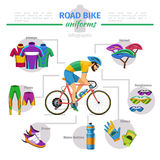 Vecteur d'uniformes de vélo de route infographic Photos stock