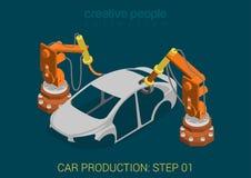 Vecteur d'usine de production de voiture à plat isométrique illustration stock