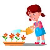 Vecteur de arrosage de fleurs de petite fille aide Illustration d'isolement illustration stock