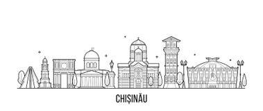 Vecteur de bâtiments de ville de Moldau d'horizon de Chisinau illustration stock