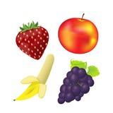Vecteur de banane de raisin de fraise d'Apple de fruit Images libres de droits