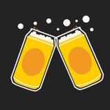 Vecteur de bande dessinée de canette de bière illustration stock
