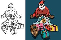 Vecteur de bande dessinée de Santa et jour de Noël Photos stock