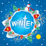 Vecteur de bande dessinée de thème de Noël d'hiver Image stock