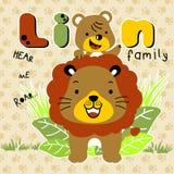 Vecteur de bande dessinée de famille de lion Images libres de droits