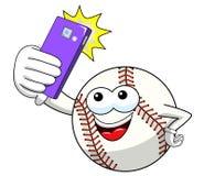 Vecteur de bande dessinée de mascotte de caractère de boule de base-ball prenant le smartphone tiré par selfie d'isolement illustration stock