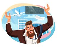 Vecteur de bande dessinée de Missed Airline Flight d'homme d'affaires illustration libre de droits