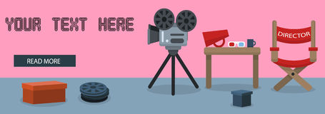 Vecteur de bannière de cinéma Photo libre de droits