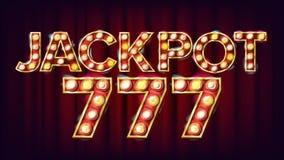 Vecteur de bannière du gros lot 777 Signe léger brillant de casino Pour des machines à sous, conception de jeux de carte Illustra Photo stock
