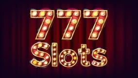 vecteur de bannière de 777 fentes Lumière lumineuse par style de vintage de casino Pour faire de la publicité la conception Illus Photographie stock