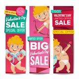 Vecteur de bannière de vente de jour de Valentine s 14 février cupidon Photo stock