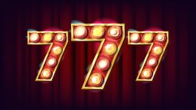 Vecteur de 777 bannières Élément rougeoyant du casino 3D Pour la loterie, tisonnier, conception de roulette Illustration de jeu Photo stock