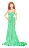 Vecteur de belle femme dans la robe images stock