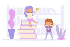 Vecteur de bibliothèque cartoon Art d'isolement sur le fond blanc illustration de vecteur